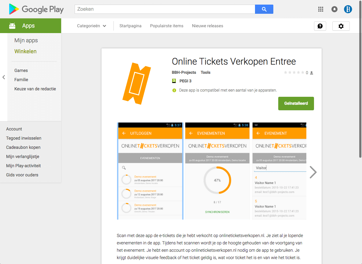 online tickets verkopen - Google Play Store 2